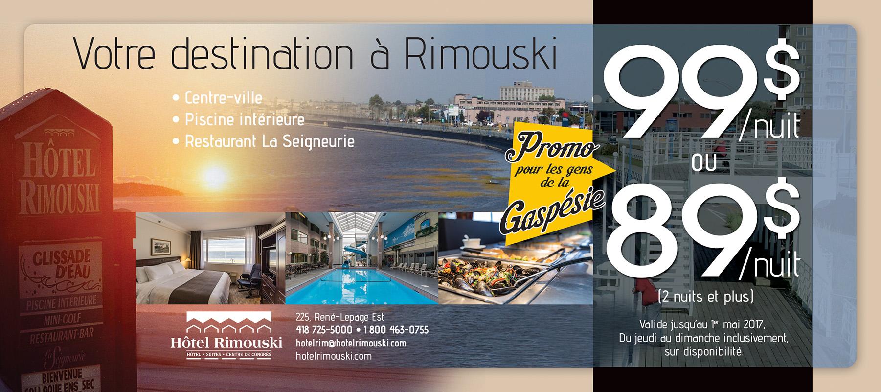 Promo gens de la Gaspésie | Hôtel Rimouski
