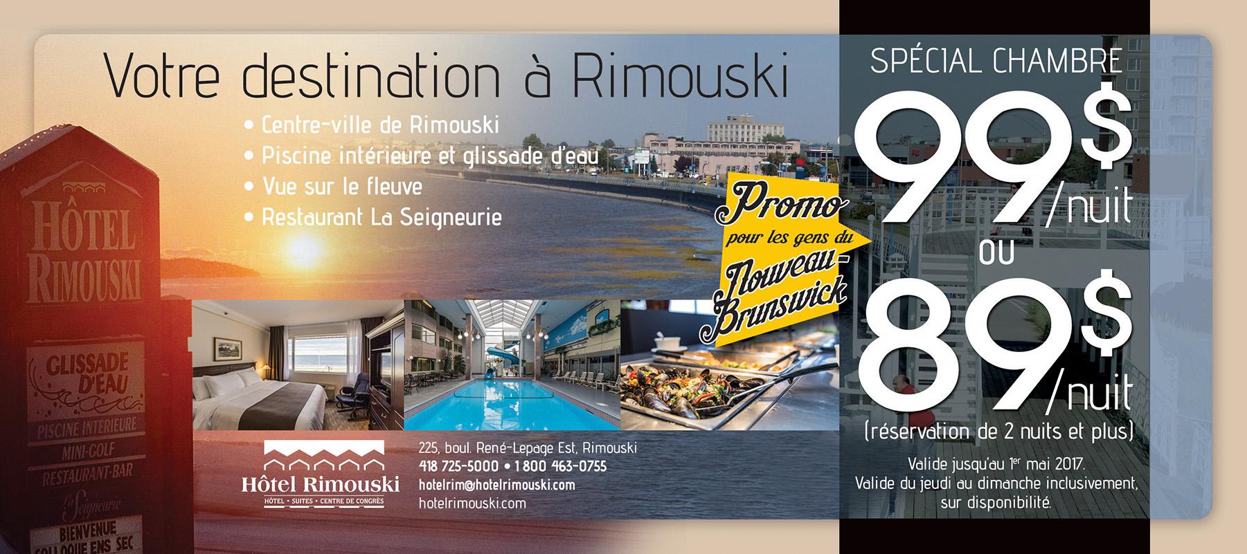 Promo gens du Nouveau-Brunswick | Hôtel Rimouski
